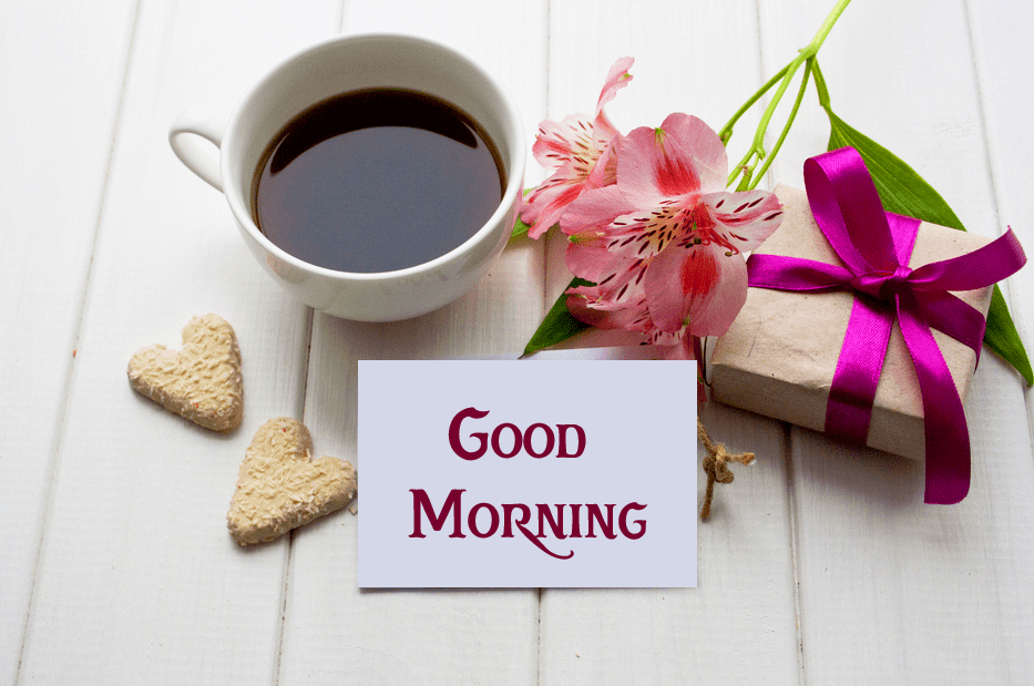 Lovely Flowers with Coffee Cup and Good Morning Wish