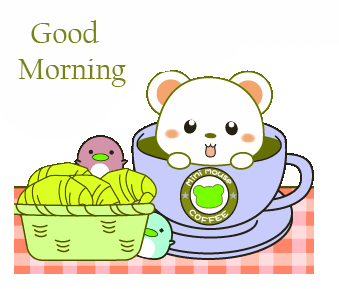 Lovely and Cute Mouse in Coffee Cartoon Good Morning Image