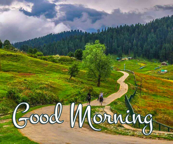 Mountains Beauty Pic with Good Morning Wish