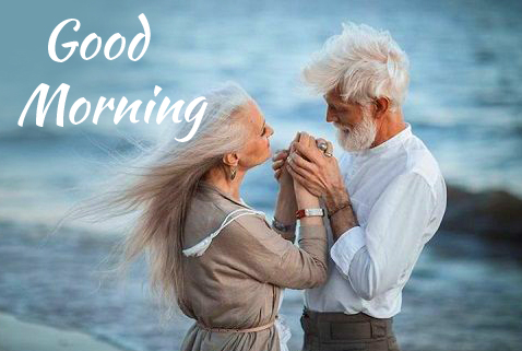 Old Romantic Couple Good Morning Image