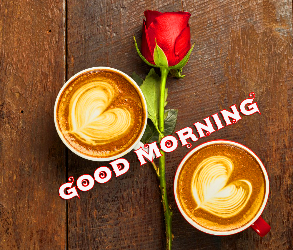 Rose with Love Coffee Cups and Good Morning Wish