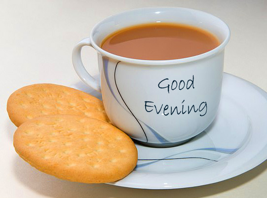 Tea with Snack Good Evening Image