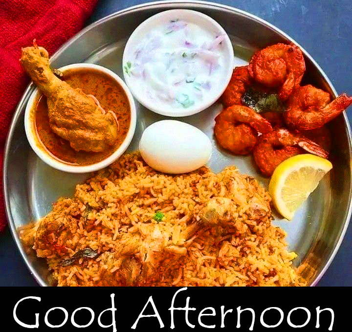 Beautiful Non Veg Lunch Good Afternoon Image