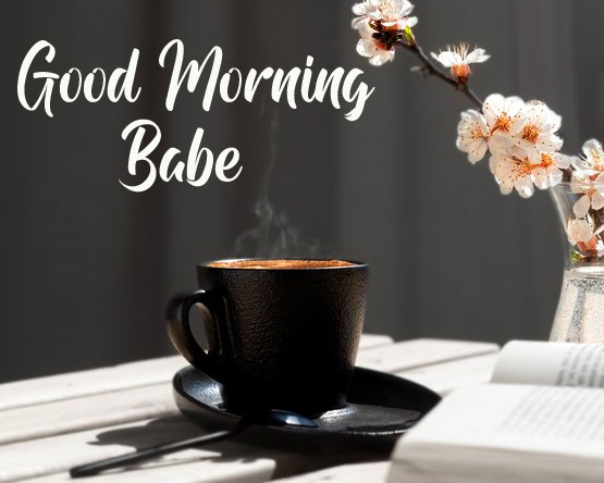 Coffee and Flowers Good Morning Babe Photo