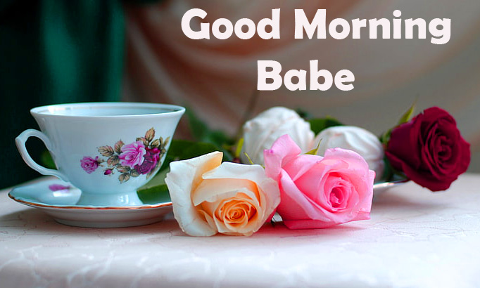 Flowers and Coffee Good Morning Babe Image