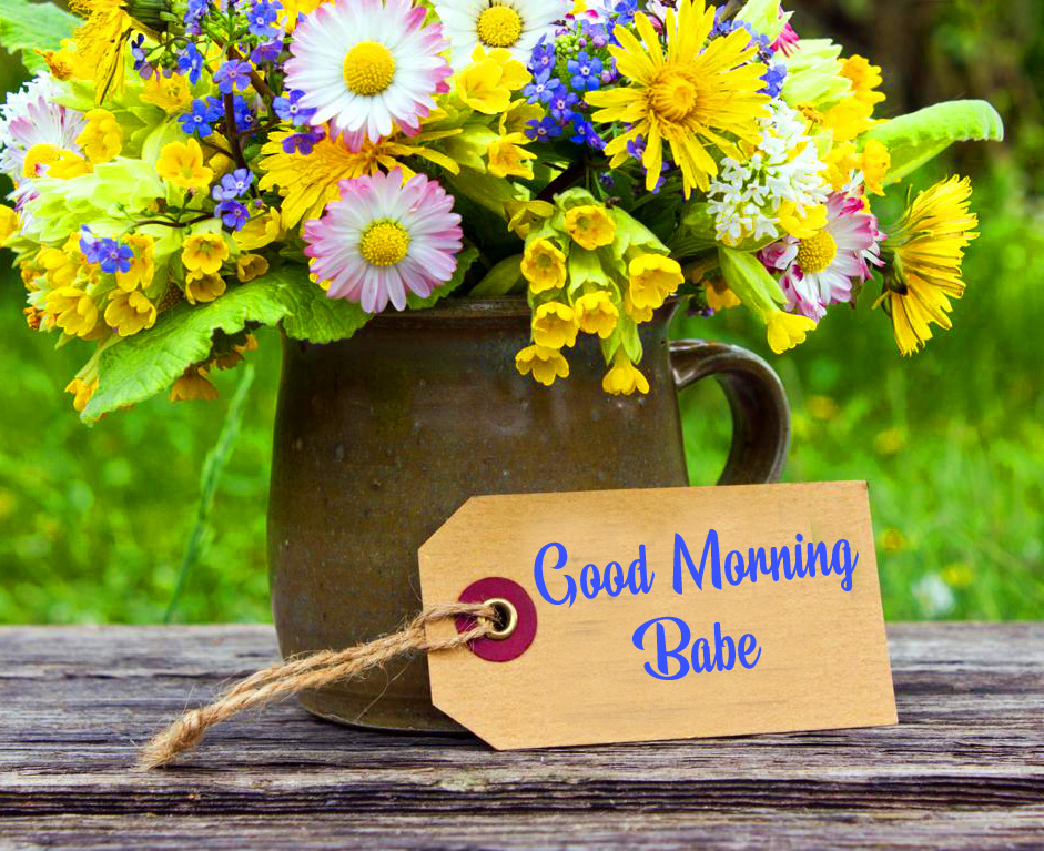 Lovely Flowers with Good Morning Babe Card