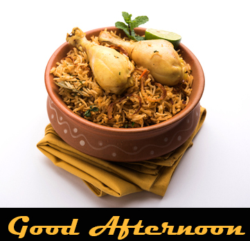 Non Veg Lunch Bowl with Good Afternoon Wish