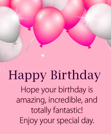 Pink Balloons with Happy Birthday Wish Message