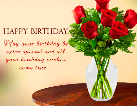 Red Roses Message Happy Birthday Picture