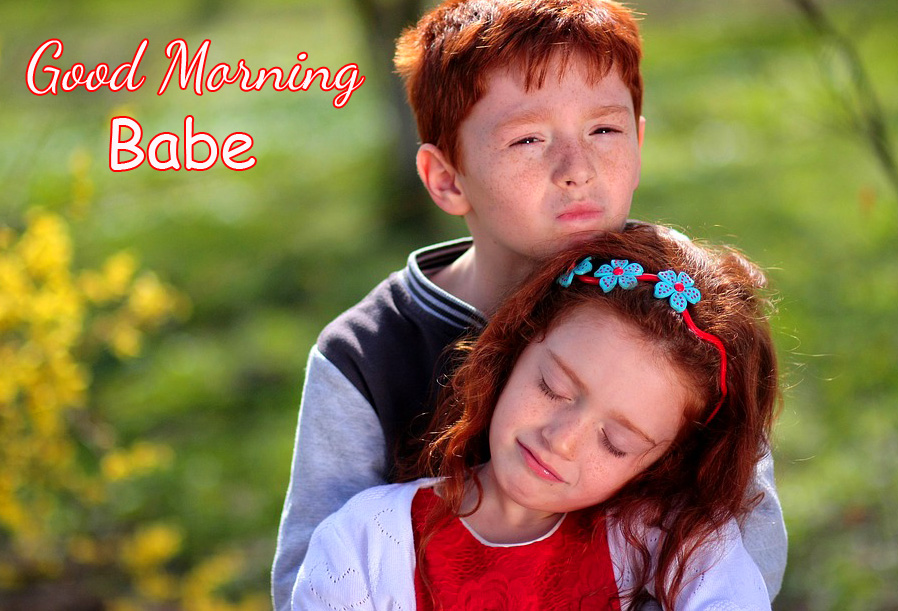 Sister and Brother Good Morning Babe Image
